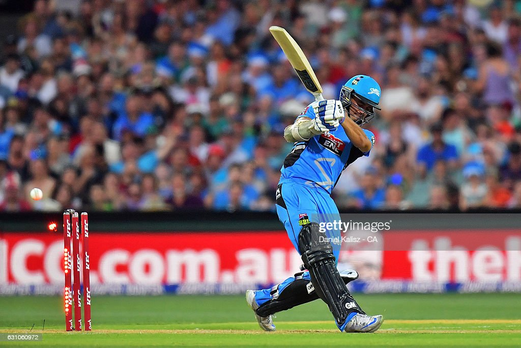 Jake Weatherald of the Adelaide Strikers is bowled out by Dan Christian of the Hobart Hurricanes during the Big Bash League match between the Adelaide Strikers and the Hobart Hurricanes at Adelaide Oval on January 6, 2017 in Adelaide, Australia.