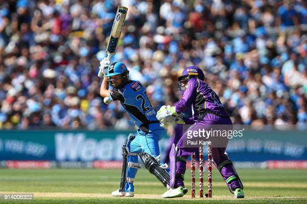 Jake Weatherald of the Strikers bats during the Big Bash League Final match between the Adelaide Strikers and the Hobart Hurricanes at Adelaide Oval...