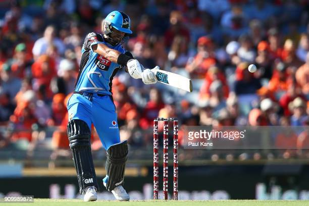 Jake Weatherald of the Strikers bats during the Big Bash League match between the Perth Scorchers and the Adelaide Strikers at WACA on January 25...