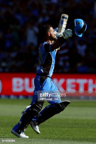 Jake Weatherald of the Strikers celebrates after reaching his century during the Big Bash League Final match between the Adelaide Strikers and the...
