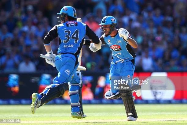Jake Weatherald of the Strikers celebrates his century during the Big Bash League Final match between the Adelaide Strikers and the Hobart Hurricanes...
