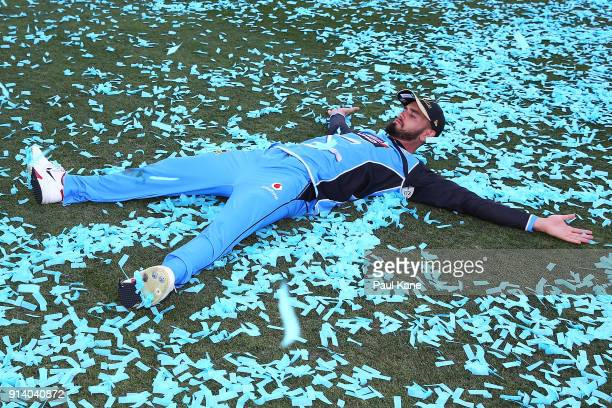 Jake Weatherald of the Strikers celebrates with the confetti after winning the Big Bash League Final match between the Adelaide Strikers and the...