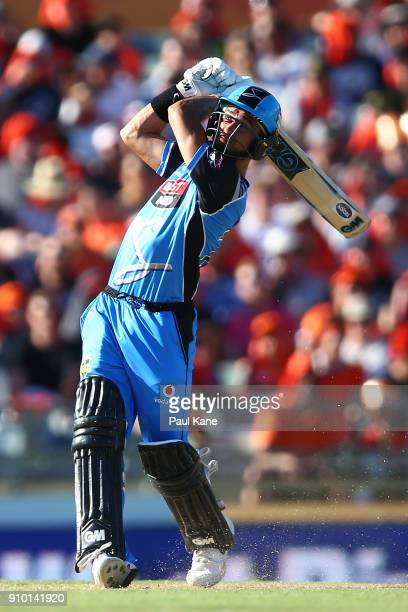 Jake Weatherald of the Strikers hits a six during the Big Bash League match between the Perth Scorchers and the Adelaide Strikers at WACA on January...