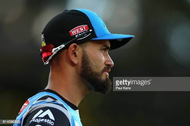 Jake Weatherald of the Strikers looks on while fielding during the Big Bash League Final match between the Adelaide Strikers and the Hobart...