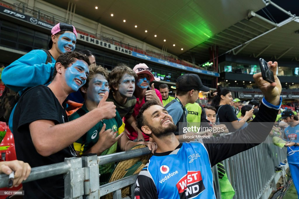 Jake Weatherald of the Strikers poses for a photograph with fans after the Big Bash League match between the Sydney Thunder and the Adelaide Strikers at Spotless Stadium on January 7, 2018 in Sydney, Australia.