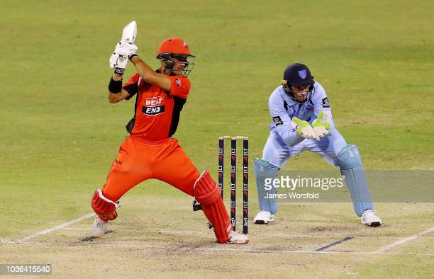 Jake Weatherald plays a cut shot during the JLT One Day Cup match between South Australia and New South Wales at the WACA on September 20 2018 in...