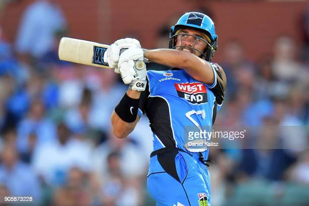 Jake Weathered of the Adelaide Strikers bats during the Big Bash League match between the Adelaide Strikers and the Hobart Hurricanes at Adelaide...