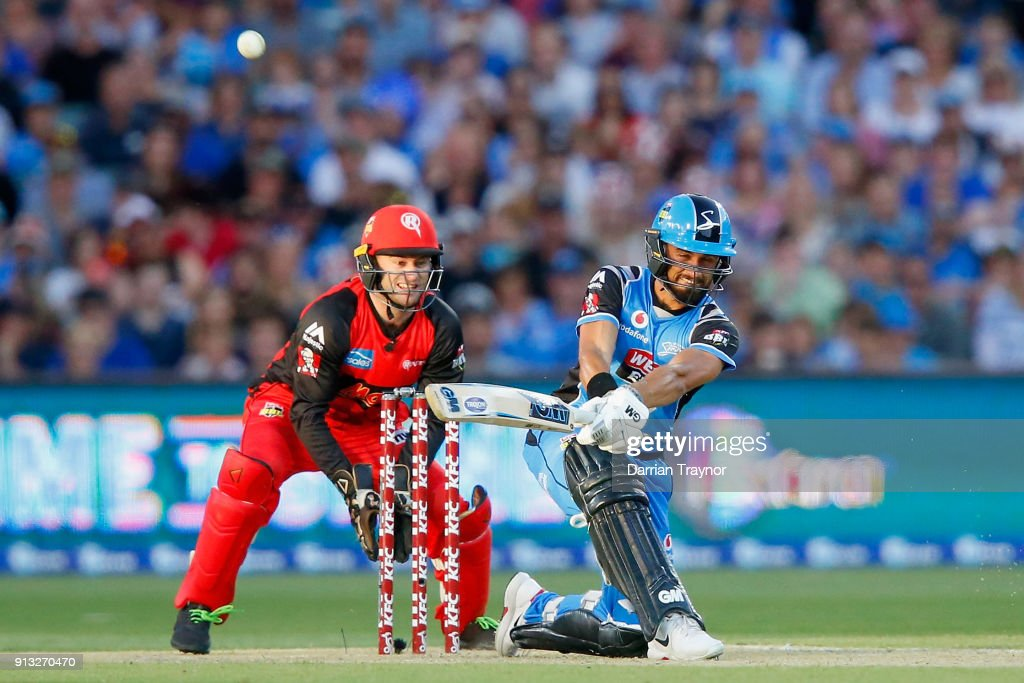 Jake Weathered of the Adelaide Strikers hits a six during the Big Bash League match between the Adelaide Strikers and the Melbourne Renegades at Adelaide Oval on February 2, 2018 in Adelaide, Australia.