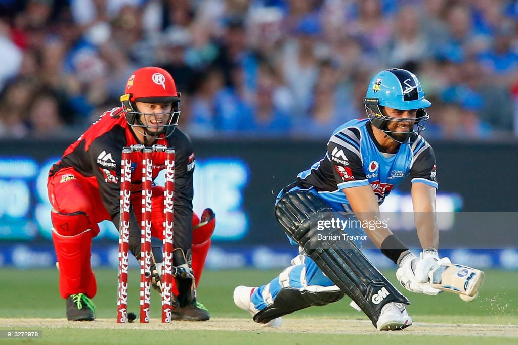 Jake Weathered of the Adelaide Strikers plays a reverse sweep during the Big Bash League match between the Adelaide Strikers and the Melbourne Renegades at Adelaide Oval on February 2, 2018 in Adelaide, Australia.