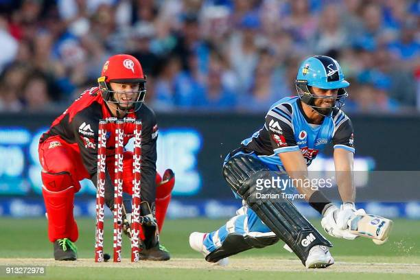 Jake Weathered of the Adelaide Strikers plays a reverse sweep during the Big Bash League match between the Adelaide Strikers and the Melbourne...