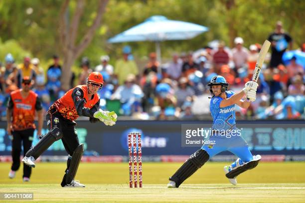 Jake Weathered of the Adelaide Strikerst bats during the Big Bash League match between the Adelaide Strikers and the Perth Scorchers at Traeger Park...