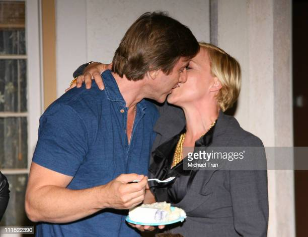 Jake Weber and Patricia Arquette attend the 100th episode cake cutting celebration for CBS's Medium held on August 27 2009 in Manhattan Beach...