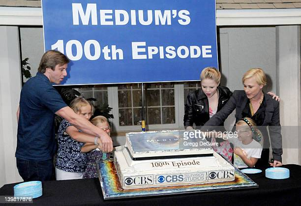 Jake Weber Maria Lark Madison Carabello Sofia Vassilieva Miranda Carabello and Patricia Arquette celebrate the 100th Episode of Medium at Raleigh...