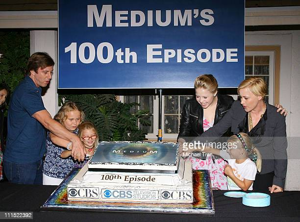 Jake Weber Miranda Carabello Madison Carabello Patricia Arquette Sofia Vassilleva and Maria Lark attend the 100th episode cake cutting celebration...
