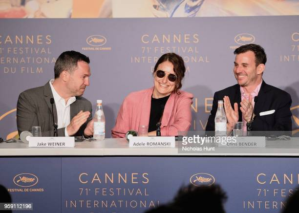 Jake Weiner Adele Romanski and Chris Bender attend the 'Under The Silver Lake' Press Conference during the 71st annual Cannes Film Festival at Palais...