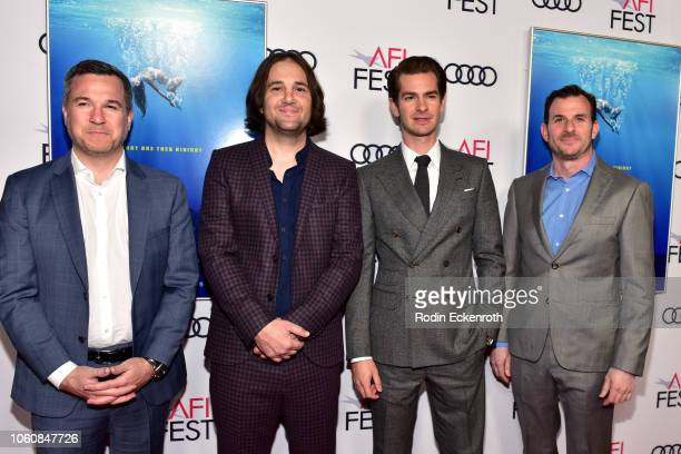 Jake Weiner David Robert Mitchell Andrew Garfield and Chris Bender attend the screening of Under The Silver Lake during AFI FEST 2018 presented by...
