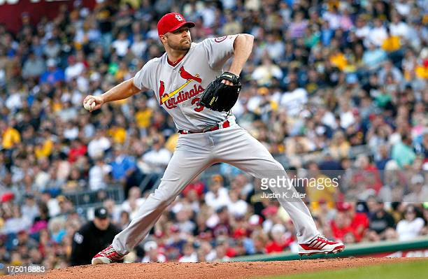Jake Westbrook of the St Louis Cardinals pitches in the first inning against the Pittsburgh Pirates during the game on July 29 2013 at PNC Park in...