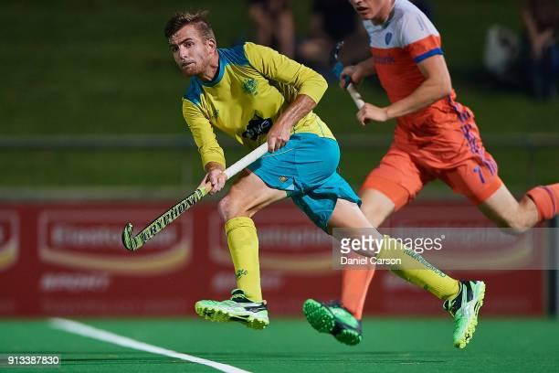 Jake Whetton of the Kookaburras passes the ball during game three of the International Test Match hockey series between the Australian Kookaburras...