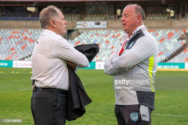 Jake White Head Coach of the Vodacom Bulls having a conversation with Naas Botha during the Super Rugby Unlocked match between the Toyota Cheetahs...