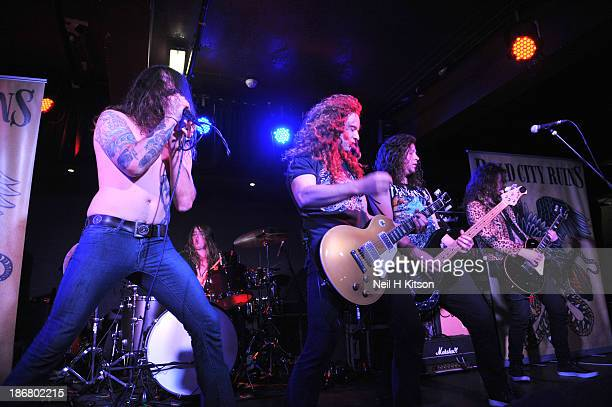 Jake Wiffen, Chris Drews, Tom Cain, Mick Quee and Sean Blanchard of Dead City Ruins performs on stage at Manchester Academy on October 24, 2013 in...