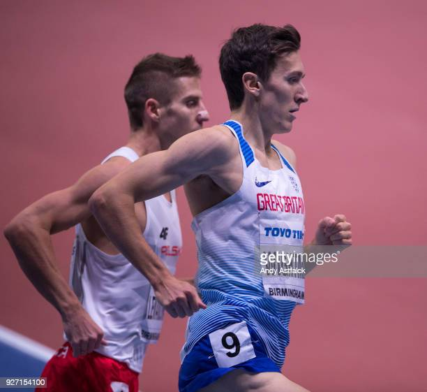 Jake Wightman of Great Britain during the Men's 1500m Final on Day 4 of the IAAF World Indoor Championships at Arena Birmingham on March 4 2018 in...