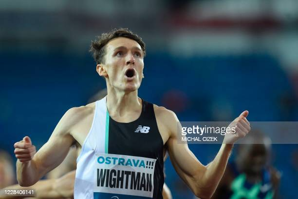 Jake Wightman of Great Britain reacts as he wins the Men's 800m of IAAF Golden Spike 2020 Athletics meeting in Ostrava, Czech Republic, on September...