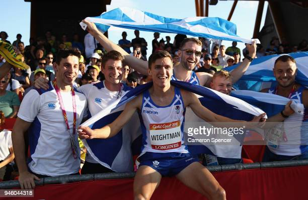 Jake Wightman of Scotland celebrates winning bronze in the Men's 1500 metres final during athletics on day 10 of the Gold Coast 2018 Commonwealth...