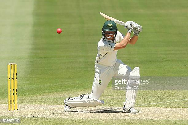 Jake Winter of Cricket Australia XI bats during the tour match between Cricket Australia XI and Pakistan at Cazaly's Stadium on December 9 2016 in...