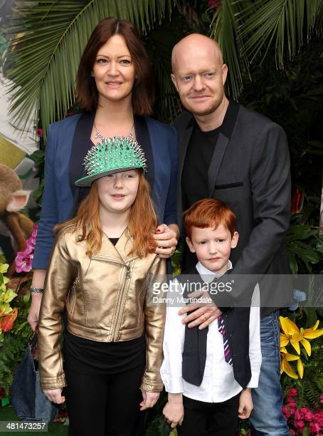 Jake Wood wife Alison Murray and children Amber Wood and Buster Wood attend the UK Gala screening of Rio 2 at Vue West End on March 30 2014 in London...