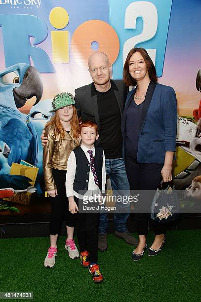 Jake Wood with his wife Alison Murray and two children Amber Wood and Buster Wood attends the UK Gala screening of Rio 2 at Vue West End on March 30...
