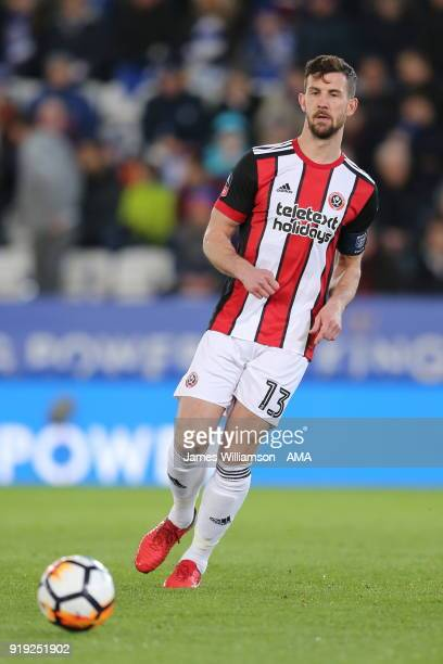 Jake Wright of Sheffield United during the Emirates FA Cup Fifth Round match between Leicester City and Sheffield United at The King Power Stadium on...
