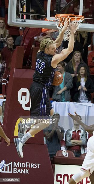 Jake Zuilhof of the Central Arkansas Bears dunks against Oklahoma during the second half of a NCAA college basketball game against at the Lloyd Noble...