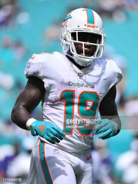 Jakeem Grant of the Miami Dolphins in action against the Baltimore Ravens at Hard Rock Stadium on September 08, 2019 in Miami, Florida.
