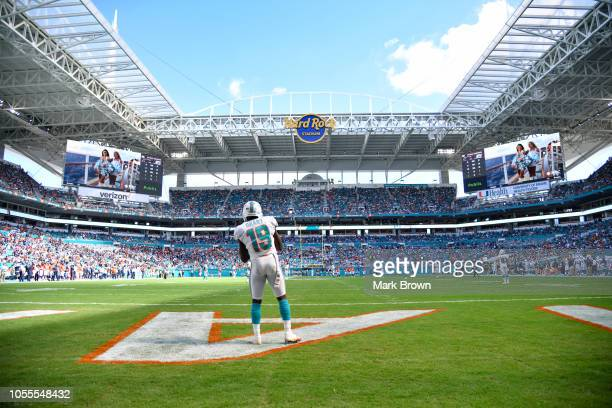 Jakeem Grant of the Miami Dolphins in action against the Chicago Bears at Hard Rock Stadium on October 14 2018 in Miami Florida