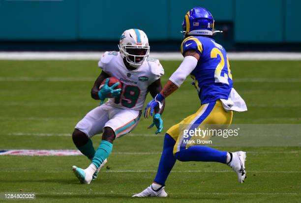 Jakeem Grant of the Miami Dolphins in action against the Los Angeles Rams at Hard Rock Stadium on November 01, 2020 in Miami Gardens, Florida.