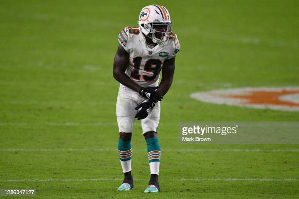 Jakeem Grant of the Miami Dolphins in action against the Los Angeles Chargers at Hard Rock Stadium on November 15, 2020 in Miami Gardens, Florida.