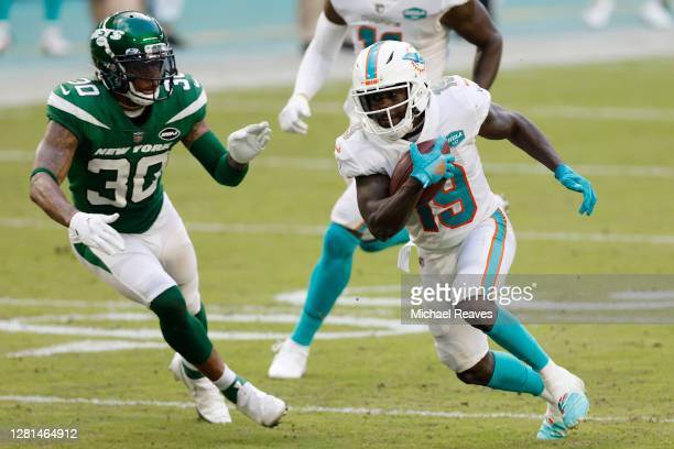 Jakeem Grant of the Miami Dolphins in action against the New York Jets at Hard Rock Stadium on October 18, 2020 in Miami Gardens, Florida.