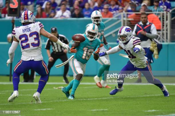 Jakeem Grant of the Miami Dolphins makes a catch during the fourth quarter of the game against the Buffalo Bills at Hard Rock Stadium on November 17,...