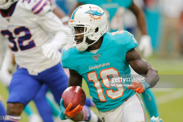 Jakeem Grant of the Miami Dolphins runs the ball during a kickoff against the Buffalo Bills during the fourth quarter at Hard Rock Stadium on...