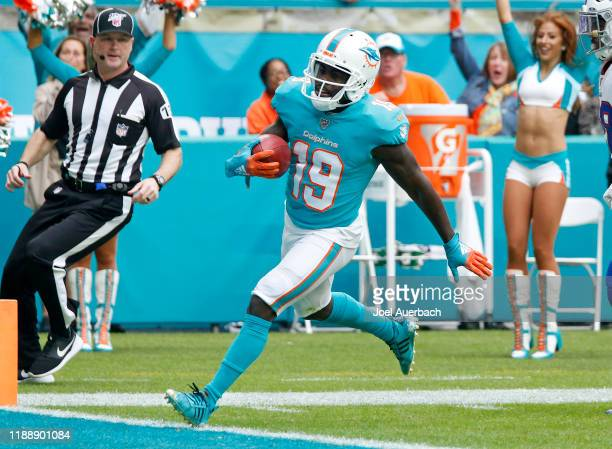 Jakeem Grant of the Miami Dolphins runs the kickoff back for 102 and a touchdown against the Buffalo Bills during an NFL game on November 17, 2019 at...