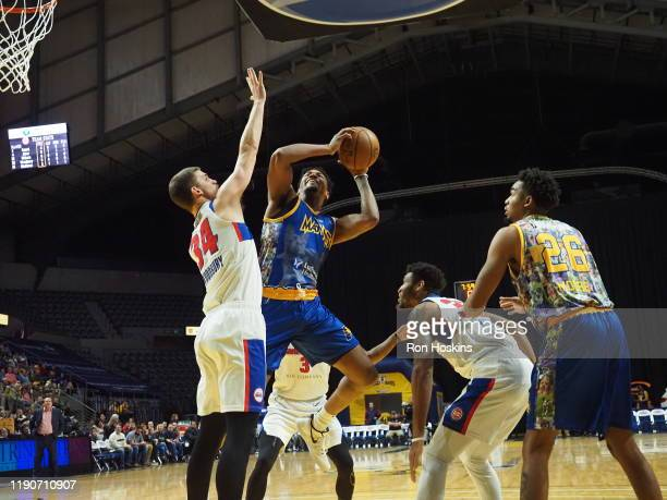 Jakeen Gant of the Fort Wayne Mad Ants battles Adam Woodbury of the Grand Rapids Drive on December 28 2019 at Memorial Coliseum in Fort Wayne Indiana...