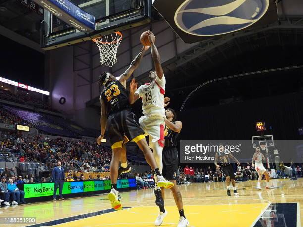 JaKeenan Gant of the Fort Wayne Mad Ants blocks the shot of Kavell BigbyWilliams Erie Bayhawks on December 13 2019 at Memorial Coliseum in Fort Wayne...