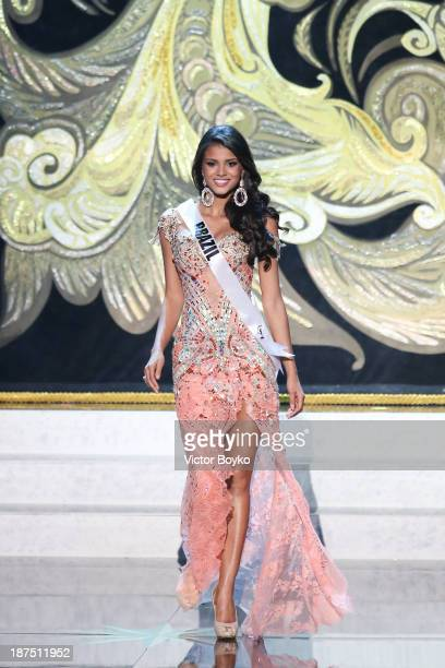 Jakelyne Oliveira of Brazil walks the stage during the Miss Universe Pageant Competition 2013 on November 9 2013 in Moscow Russia