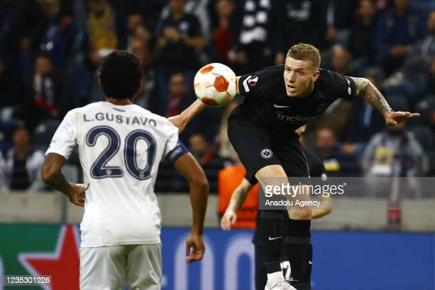 Jakic of Eintracht Frankfurt in action against Gustavo of Fenerbahce during the UEFA Europa League group D match between Eintracht Frankfurt and...