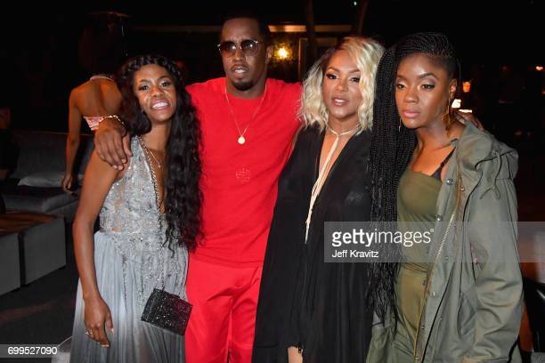 Jakima Raynor Keisha and Pamela Long of Total toast to Sean Diddy Combs and the world premiere of Can't Stop Won't Stop at the official after party...