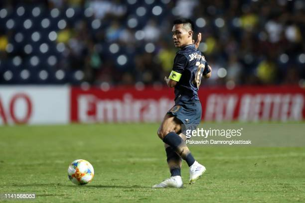 Jakkaphan Kaewprom of Buriram United in action during the AFC Champions League Group G match between Buriram United and Beijing Guoan at Chang Arena...