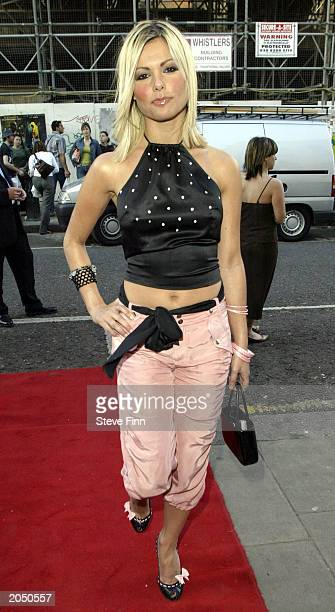 Jakki Degg arrives at the UK Premiere of Jack Nicholson's new film Anger Management at the Electric Cinema on June 2 2003 in London