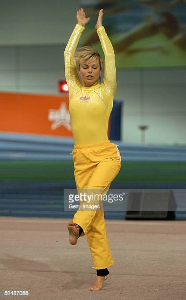Jakki Degg of the girls participates in the floor gymnastics event on day four of the new series of the reality TV show The Games at the English...