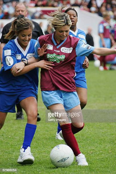 Jakki Degg takes part in the London edition of the annual fundraising tournament Music Industry Soccer Six at West Ham's Boleyn Ground Upton Park on...