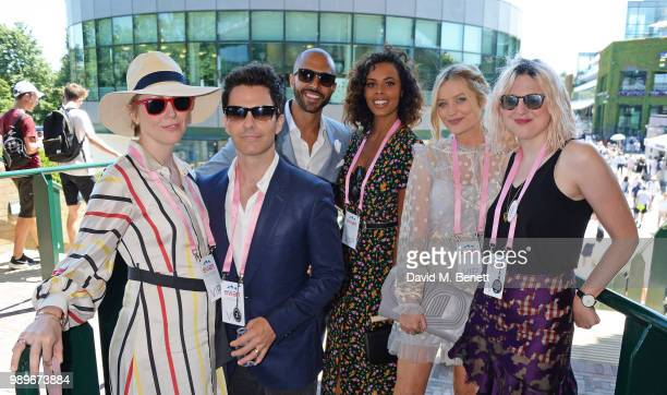 Jakki Healy, Kelly Jones, Marvin Humes, Rochelle Humes, Laura Whitmore and Dee Moran attend the evian Live Young Suite at The Championship at...